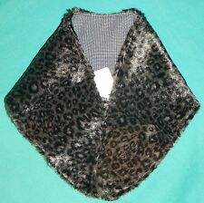 Leopard Faux Fur Stole w Check Lining My Size Barbie Doll or Small Child Myc34