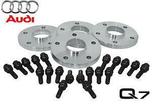 Audi Q7 20 MM Hub Centric Wheel Spacers W/ Black OEM Lug Bolts 2007 - 2014