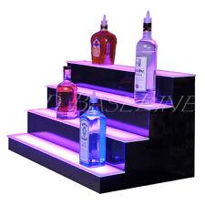 """34"""" Led Bar Shelves, Four Steps, Lighted Bar Shelf, Liquor Bottle Display Rack"""
