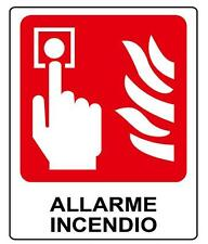 Cartello Segnaletica alluminio pulsante antincendio. Fire allarm sign 100X125 mm