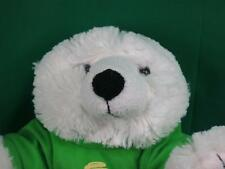GO GREEN SAVE ENERGY LIGHT BULB GREEN T-SHIRT WHITE SHAGGY TEDDY BEAR PLUSH SOFT