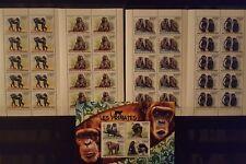 387 Briefmarken Burundi Affen KB.+10-er Bogen ,postfrisch