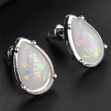 Silver Ear Dangle Drop Earrings for Women White Fire Opal Trendy Lady Jewelry PD