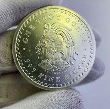 Aztec Calendar Mayan Cuahtomec 1 oz .999 Fine Silver Coin