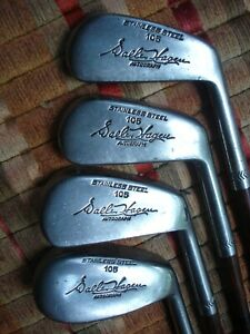 LOT Of 1930's WALTER HAGEN Coated Shaft IRONS Stainless Steel Very Nice