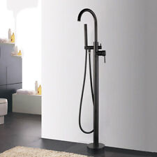 Matte Black Floor Mount Bathtub Filler + Hand Held Shower Faucet Mixer Tap Unit