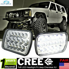 "2x LED Headlight 7x6"" 7x5"" 15-CREE LED Light Bulb For 1984-2001 Jeep Cherokee XJ"