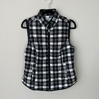 Croft and Barrow Women's Small Petite Black White Plaid Quilted Vest Full Zip
