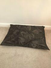 Floor Cushion Filled Black & Grey Leaf Large 3 cubic ft Size upholstery grade