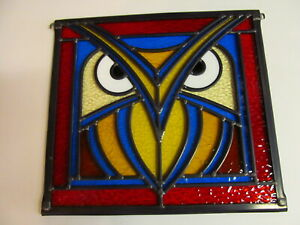 Newly crafted OWL Traditional Leaded Stained Glass Window Panel 302mm by 283mm