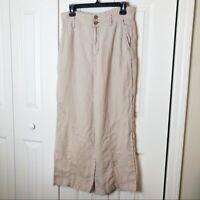 Nicole Miller 100% Linen Wide Leg Cropped Pants Size 8