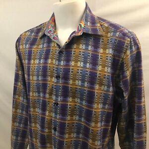 Robert Graham Men's Classic Fit LS Button Front Shirt Large Purple Geometric