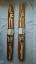 """New listing Vintage 1970s Nash Cruisers Jr. Trainers Wood Water Skis 47"""" long, Cabin Decor."""