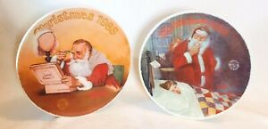 2 Vintage 1985 1986 Christmas Editon Norman Rockwell Collector Plates Knowles