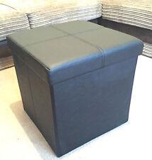 Ottoman Folding Storage Box Pouffe Footstool Seat Pop Up Cube Faux Leather
