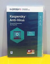 Kaspersky Anti-Virus 2016 3 PCs 1 Year Protection - Brand New (Licence Key Card)