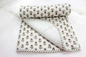 44'' Indian Block Print Buti Pure cotton baby wrap Throw Kantha Baby Quilt S 945