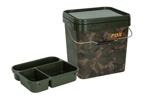 FOX Square Camo Bait Bucket 17L / 17 Litre + Insert Tray - Combo Package Deal