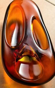 Murano Bowl Glass Submerged, Sculpture, Colour Amber, Vintage, (THE SCREAM)