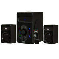 Acoustic Audio Bluetooth 2.1 Speaker System with LED Lights, USB, SD Card Inputs