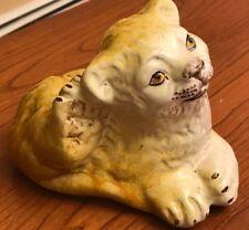 "Terra Cotta Lion Cub Sculpture Figurine Hand Painted Vintage ITALY 5.5"""