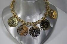 ANNE KLEIN GOLD PLATE 5 DANGLE LION HEADS CHAIN NECKLACE