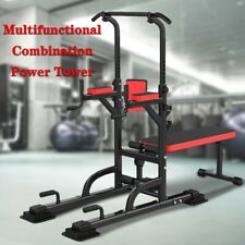 New listing Power Tower Dip Station With Bench Bar Adjustable Pull Up Bar Station Home GYM