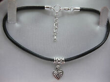 """3mm Black Leather Cord 10"""" Anklet Tibetan Silver Heart Charm Unwanted Gift"""