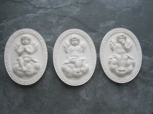 THREE  BEAUTIFULL VINTAGE CHERUBS SITTING ON A CLOUD WALL PLAQUE /FURNITURE DIY