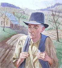 Original Watercolor Landscape / Portrait FARMER IN FIELDS Edward A. Tomasiewicz