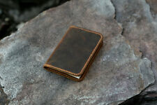 minimalist real leather cover for mini composition pocket notebook 4.5 x 3.25""