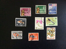 SINGAPORE; LOT OF 9 STAMPS USED; plants, fish, birds etc*S