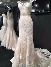 2020 Mermaid White/ivory Wedding Dress Lace appliques Bridal Gown Custom Size