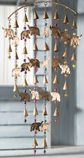 Large Indian Recycled Metal Iron Elephant Garden Bells Wind Chime Mobile