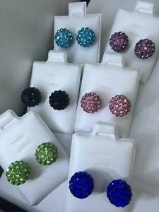 NEW! Surgical Steel Shamballa Pave CZ Crystals Stud Earrings