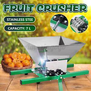 7L Stainless Steel Fruit Crusher Pulper Masher Grinder Apple Juice Wine Cider