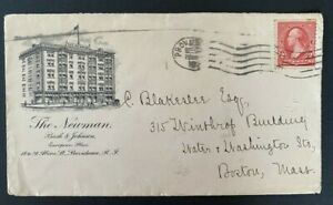 Providence RI The Newman Hotel Advertising Cover to Boston MA #250 2c Washington