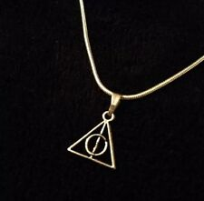 Small Harry Potter Necklace Deathly Hallows Symbol Charm Silver Chain Love *UK**