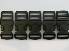 "5 - Squeeze Plastic Clips Contour 2"" long 3/4"" wide - Holds 5/8"" strap Black"