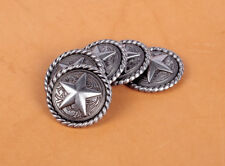 10PCS 3CM ANTIQUE SILVER ROUND ROPE EDGE STAR SADDLE RIVETBACK CONCHOS FOR CRAFT