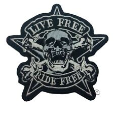 Live Free Ride Free  Iron Sew On Patch Embroidered Motorcycle Jacket Black Badge