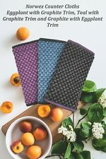 NORWEX COUNTER CLOTHS SET OF 3 EGGPLANT TEAL & GRAPHITE WITH TRIM MICROFIBER