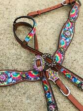 Western Horse Bling! Rainbow Tie Dye Leather Tack Set Headstall w/ Breast Collar