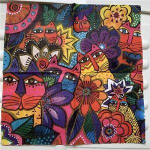 Vintage Paper Napkins Elegant Fabric Abstract Animal Lion Cat Flowers Decoupage