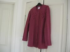 Ladies Cardigan Design Damart  Purple Size Medium Long Sleeves  Acrylic 100%