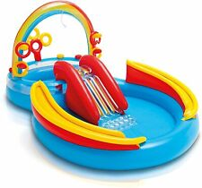Aire de jeux gonflable Bassin et Toboggan Arc en ciel Bouée Mini piscine