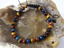 Natural Gemstone Men's Shamballa bracelet all 6mm BLUE RED BROWN Tiger Eye beads