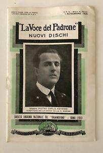 LISTINO MENSILE NOVITA' LA VOCE DEL PADRONE N. 6 1 NOVEMBRE 1928 PIETRO C AGHEMO