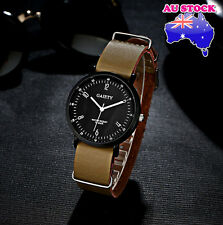 Wholesale Hot Cream Leather Classic Mens Black Dial Quartz Sports Wrist Watch