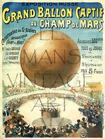 PLAQUE ALU DECO REPRODUCTION AFFICHE GRAND BALLON CAPTIF CHAMP MARS 1895
